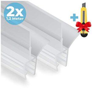 2x Guarnizione Doccia Sottoporta in gomma  Taglierino GRATUITO  2x120 cm  2 Guarnizioni ricambio anti spruzzo per porta doccia  678 mm di spessore  Idrorepellente