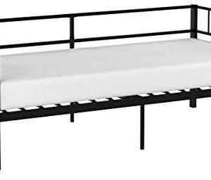 Aingoo Day Bed Letto Singolo in Ferro con Struttura in Metallo 90  190 cm per Soggiorno Camera da Letto Nero
