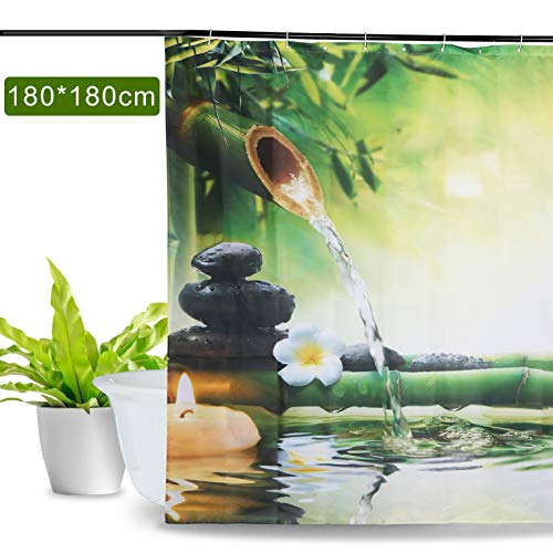 Aitsite Impermeabile e Muffa Resistente Tenda da Doccia Fiore di bamb e Uccello Fenicottero Stampato in Digitale con Disegno Elegante Tenda da Bagno Accessori da Bagno 180 cm x 180 cm bamb Verde