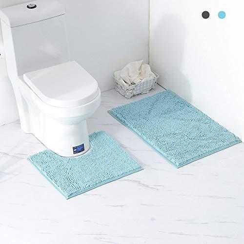 Homcomoda antiscivolo tappetini da bagno tappeti assorbenti in microfibra per il bagno 50x80cm Gradiente blu