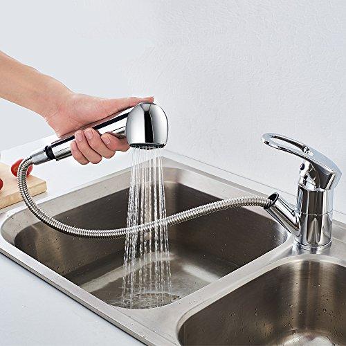 Auralum Cromo Miscelatore Lavello Cucina con Doccetta Estraibile Rubinetto  Monocomando Lavandino Cucina Moderno, 360° Beccuccio Girevole e 2 Funzioni