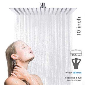 Baban Soffione docciaSoffione 10 pollici piazza soffione cromato Acciaio superiore Disegno25 CM  25CM5 anni di garanzia