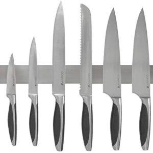 Barra magnetica per coltelli della Coninx da 40 cm striscia banda pensile per coltelli in acciaio inossidabile  Soluzione sicura e facile per deporre i coltelli da cucina gli utensili in metallo e tanto altro  montaggio a parete supporto per coltelli orizzontale  scaffale