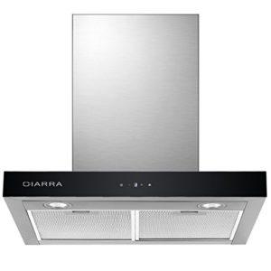 CIARRA Cappa Aspirante Cucina 60cm Acciaio Inox 550 m3h Potenza di Aspirazione 3 Livelli di Velocit Controllo Touch LED Scarico EsternoRicircolo Filtro per CBCF003 Argento