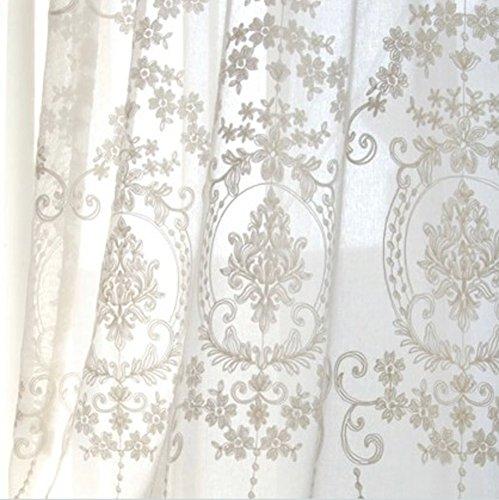 Europea Tenda del ricamo Bianca Pizzo Tenda in tulle Per Soggiorno Camera da letto Balcone Bovindo Decorazioni per finestre-bianca 200x220cm 79x87inch