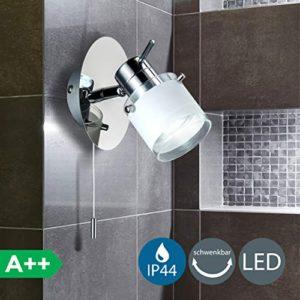 Faretto LED da soffitto o parete orientabile I applique bagno I lampada moderna resistente agli schizzi dacqua I corpo metallo color cromato I include lampadina da 5W I 230V I GU10 I IP44