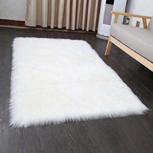 Faux pelliccia di agnello di pecora tappeto 50 x 150 cm Tappeti Soggiorno elastico capelli lunghi effetto pelliccia accogliente Pecora sagomato letto divano Matte bianco