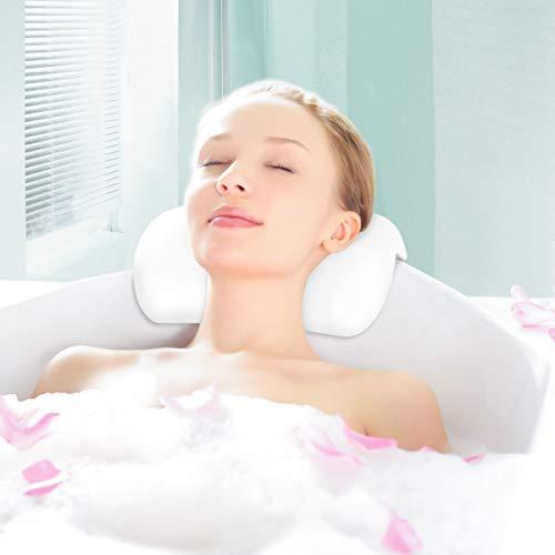 Fypo Cuscino da Bagno Vasca da Bagno Accessori Bagno Morbido con Ventosa Forte per Rilassare Testa e Collo 27cm  14cm Bianco