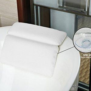 HALOViE Bath Pillow Vasca da Bagno Cuscino con Forti Ventose Grandi di aspirazione Vasca Idromassaggio Cuscino per Il Collo Impermeabile Bath Pillow e 7 Ventose Resistenti e Ben fissate Bianco