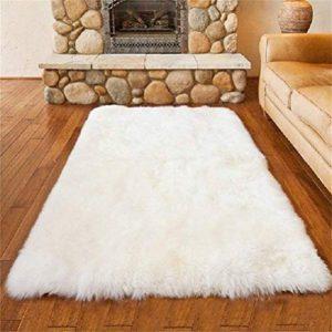 HEQUN Faux pelliccia di agnello di pecora tappeto pelliccia sintetica decorativa Super Soffice Pelliccia di agnello imitazione Tappeto Longhair effetto pelliccia divano letto white 6090