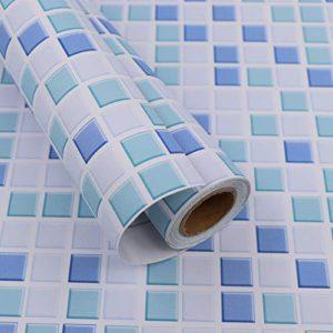 Hode Mosaico Adesivi Decorativi per Piastrelle Cucina Vinile Impermeabile PVC Autoadesivo DecorazioneMosaico40X300cmCarta da Parati per Bagno Blu Adesivi per Piastrelle