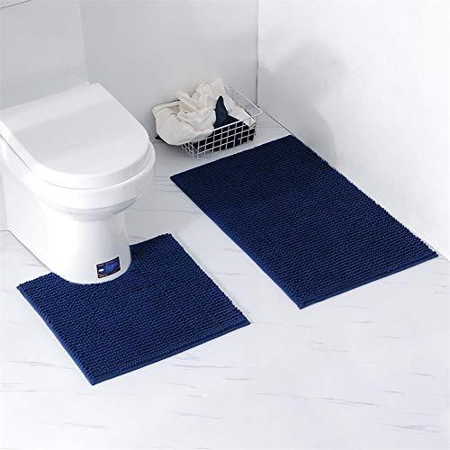 Homcomodar Tappetini per Il Bagno 2 Pezzi Set Tappeti da Bagno Lavabili in Ciniglia con Contorno Tappeto da Toilette a Forma di U per Bagno Blu Scuro