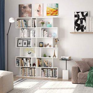 Homfa Scaffale Libreria Mobile Soggiorno in Legno Mobile per Archiviazion Carico 30 kg 70  235  1905cm Bianco