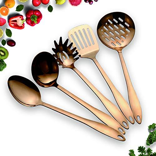 Homquen Utensili Da Cucina Antiaderente In Acciaio Inox Set Rame 5 Utensili Da Cucina Cottura In Oro Massiccio Per Barbecue Arredamento E Casa