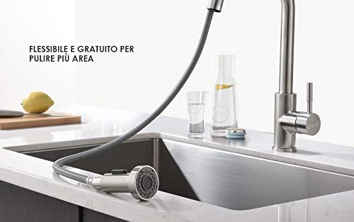 ieGeek Miscelatore Cucina con Doccetta Estraibile Girevole a 360 ° 2  funzioni Rubinetti da cucina con Rubinetto per Cucina Doccetta