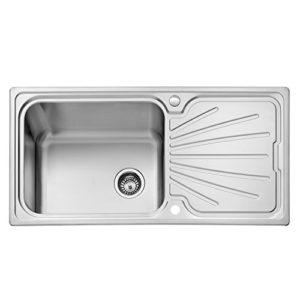 JASS FERRY  lavello da incasso in acciaio INOX con 1unica vasca ampia e gocciolatoio  fissaggi per tubo di scarico