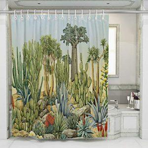 JOTOM Tende da Doccia Non Sbiadimento Durevole Poliestere Cactus Fogliame Fenicottero Modello Shower Curtain Resistente con 12 Ganci 180x180cm Cactus