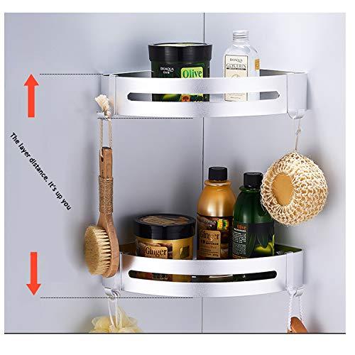 Porta Shampoo Sapone per Doccia Mensole ad Angolo con 4 Ganci Kazeila 2 Strati Mensola Doccia per Bagno Senza Foratura Triangolo Alluminio Portaoggetti Doccia