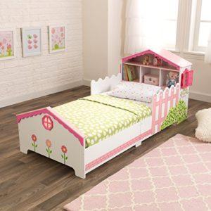 KidKraft 76255 Lettino Stile Casa delle Bambole con Giroletto in Legno Mobili per Camera da Letto per Bambini