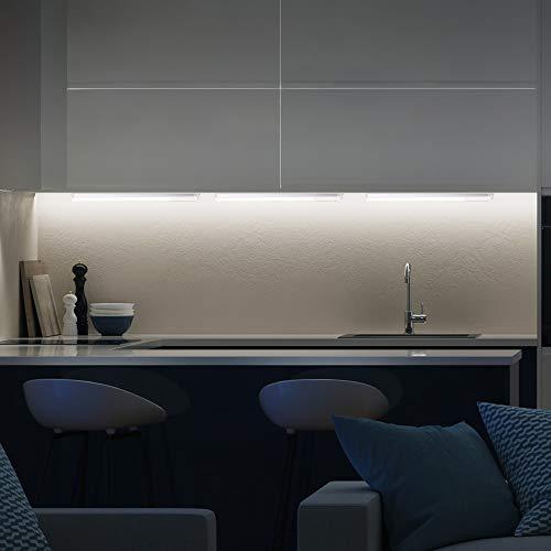 Lampada sottopensile cucina LED, luce calda 3000K, LED integrati da 10W,  lunghezza 57.5cm, 1.110 Lm, interruttore on off, plastica e metallo,  lampada ...