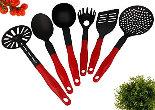 Lantelme utensili da cucina Set da 6 lavabili in lavastoviglie Resistenti al calore fino a 260  C Plastica nero rosso Spatola Cucchiaio di spaghetti Schiacciapatate Cucchiaio di servizio Siviera e scrematrice di minestra 4789