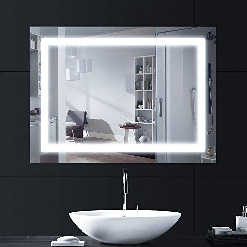 LEBRIGHT 18w 80 x 60cm Specchio Luce LED con Illuminazione Interruttore per Il Bagno Camera da Letto AC 230VLucido Argento a Parete con Luce a Specchio con Pulsante a Tendina 4000K Neutro Bianco