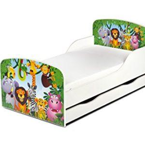 Letto Lettino Per Bambini In Legno Cassetto Cassettone e Materasso Magnifiche Stampe Mobili Per Bambini Attrezzatura Stanza Per Bambino Dimensioni 140x70 Animali Zoo