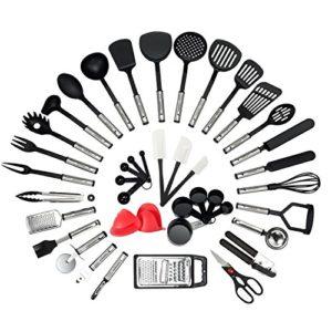NEXGADGET Set di Utensili da Cucina in Acciaio Inox e Nylon 42 Pezzi Incluso Cucchiaio Spatola Pinze Forcella Mestolo Apribottiglie Pelapatate Forbici da Cucina Cucchiai di Misurazione ECC