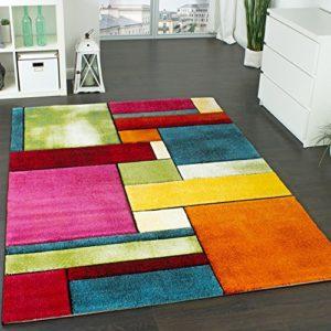 Paco Home Tappeto di Design Colorato Screziato Appariscente Verde Blu Arancione Rosa Dimensione80x150 cm