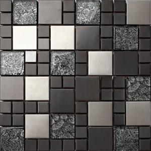 Piastrelle da mosaico in vetro e acciaio inox di colore nero e argento delle dimensioni di 30cm x 30cm x 8mm modello MT0002