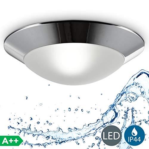 Plafoniera da soffitto plafoniera bagno lampada moderna resistente agli schizzi dacqua IP44 corpo plastica color cromato e vetro attacco per lampadina E27 non inclusa  31cm 230 V