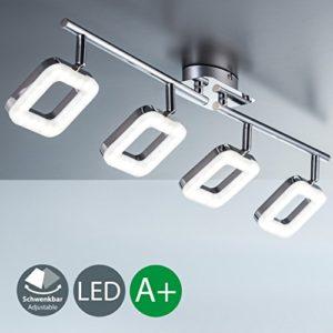 Plafoniera LED moderna lampada da soffitto 4 luci orientabili a forma quadrata LED integrati 4 x 4 W luce calda 3000K corpo metallo cromato lampadario per soggiorno o camera da letto 230V IP20