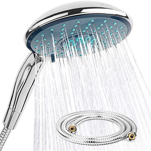 Set doccia con flessibile  XXL Wellness  4 tipi di getto  Soffione doccia diametro 150 mm con flessibile da 15 m  Per il bagno e la doccia