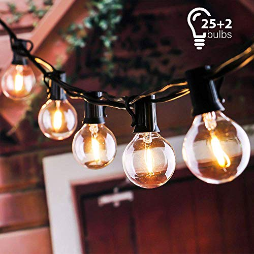 Tronisky Catena Luminosa 7 62m Stringa Luci Catene Luminose Impermeabile Con 25 G40 Lampadina Bianco Caldo Decorazione Da Esterno E Interno Per