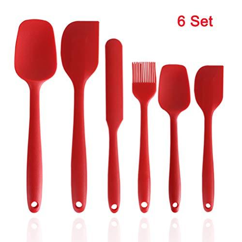 Zeattain Spatole in Silicone Antiaderente Flessibile in Silicone Cottura Cucchiaio Utensili da Cucina Utensili Set 6pcs Rosso